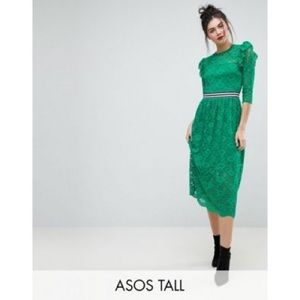 ASOS tall green lace dress